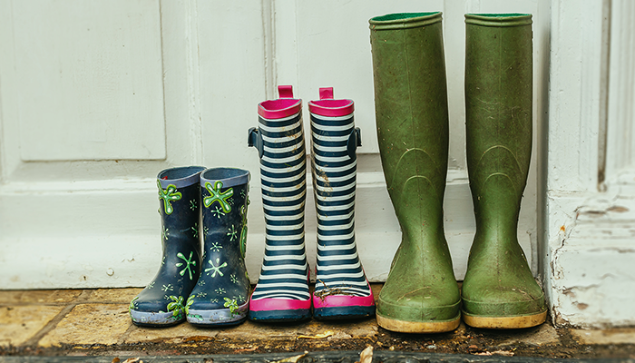 Different wellies lined up outside